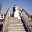 Newlyweds kissing on the stairs — Stock Photo #26613001