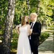 Groom and Bride in a park — Stock Photo #26613169