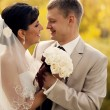 Стоковое фото: Wedding shot of bride and groom in park