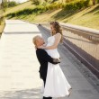 Happy bride and groom in a park — Stock Photo #26613519
