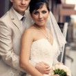 Groom and bride embraces — Stock Photo #26613687