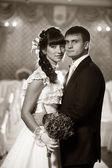 Bride and groom. Retro style photo — Stock Photo