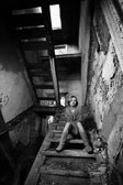 Woman in old house — Stock Photo