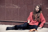 Homeless girl — Stock Photo