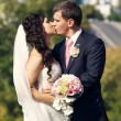 Groom and bride kissing — Stock Photo