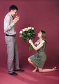 Surprise bouquet for him — Stock Photo