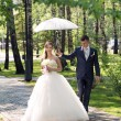 Stock Photo: Newlyweds walk