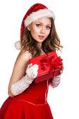 Portrait of young, sexy female Santa — Stock Photo