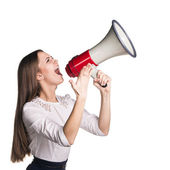 Business woman with megaphone — Stock Photo