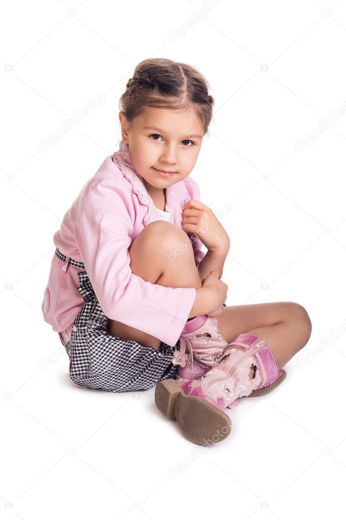 Little Girl Sitting On The Floor Stock Photo Kotin 50060145