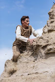 Man in desert — Stock Photo