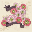 Hand drawn floral background with ribbons — Stock Vector #28904201