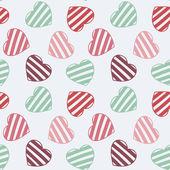 Disegnati a mano doodle seamless pattern di cuori — Vettoriale Stock