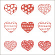 Set of nine hand drawn hearts — Stock Vector