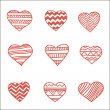 Stock Vector: Set of nine hand drawn hearts