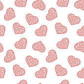 Hand drawn doodle seamless pattern of hearts — Vetor de Stock