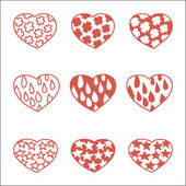 σύνολο εννέα χέρι που καρδιές — Διανυσματικό Αρχείο
