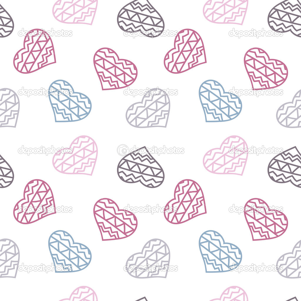 手绘涂鸦无缝模式的心 — 矢量图片作者 mrfreddy