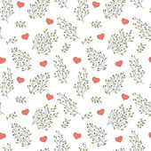 Hand drawn floral seamless pattern with hearts — ストックベクタ