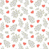 Hand drawn floral seamless pattern with hearts — Stock Vector