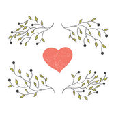 Hand drawn heart with blooming branches — Stock Vector