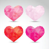 Set of crystallized hearts — Stock Vector