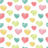 Hand drawn doodle seamless pattern of hearts — Stock Vector