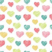 Hand getrokken doodle naadloze patroon van harten — Stockvector
