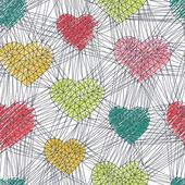 手绘涂鸦无缝模式的心 — 图库矢量图片