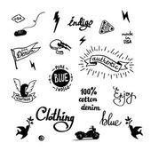 Old school denim biker symbols — Stock Vector