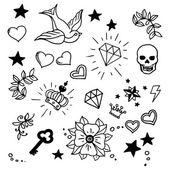 Set of old school tattoos elements — Vettoriale Stock