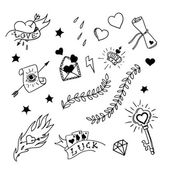 Set of hand drawn elements in tattoo style — Cтоковый вектор