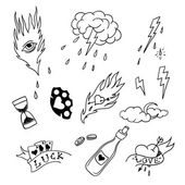 Set of hand drawn elements in tattoo style — Stock Vector