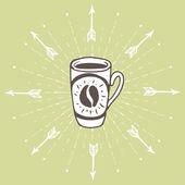 手绘制的背景与咖啡杯 — 图库矢量图片