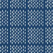 绘制无缝靛蓝民间图案的手 — 图库矢量图片