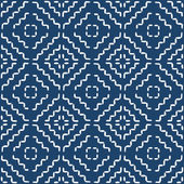 Hand drawn seamless indigo folk pattern — Stok Vektör