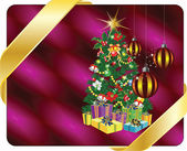Christmas tree and decorations — Stock Vector