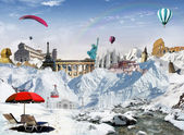 Mountain view with world landmarks — 图库照片