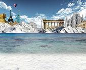 Horské jezero a světové památky — Stock fotografie