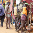 Stock Photo: Africtribal men at market