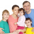 Pleasant family in bright T-shirts — Stock Photo