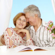 Caucasian couple of elderly — Stock Photo