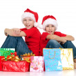 Happy children with gifts — Foto Stock