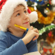 Boy in the Christmas hat — Stock Photo #12829725