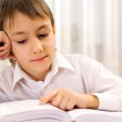 Clever boy learns lessons at home — Stock Photo