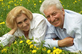 Two smiling enjoy union with nature — Stock Photo