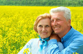 Beauteous older are enjoying the fresh air — Stock Photo