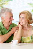 Beauteous old couple at the resort — Stock Photo