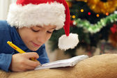 Boy in the Christmas hat — Stock Photo