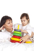A beautiful Caucasian baby with his mum — Stock Photo